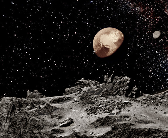 Pluto Moons Nix And Hydra S: New Space Art Picture Of Pluto And Charon