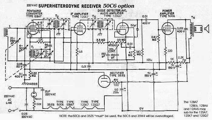 5 tube radio schematic with 35w4